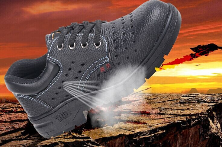 fashion breathable work & safety shoes prevent slippery soft leather autumn boots anti-hit puncture proof  steel toe black shoes