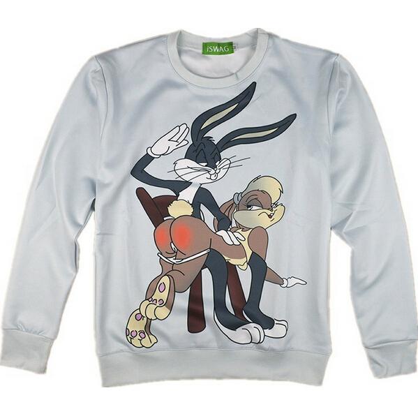 2015 Free Shipping Hot Fashion 3D Cartoon Women Men Sweatshirts Bugs Bunny Looney Tunes Crewnecks Sweats Sweatshirt(China (Mainland))