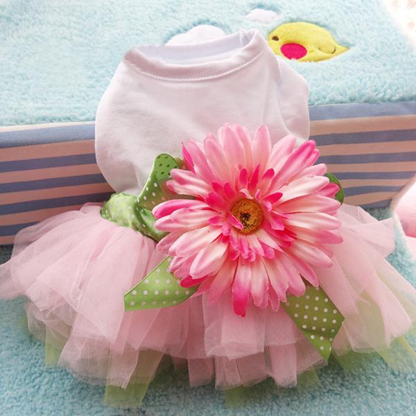 Lace Flower Dog Princess Dress Pet Dog Puppy Dress Pet Clothes New(Hong Kong)