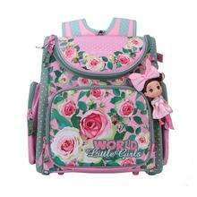 Russische Kinder Schultaschen Rosa Blume Gedruckt Wasserdichte Orthopädische Nylon Kinder Mädchen Rucksack 3D Schul Mochila Infantil(China (Mainland))