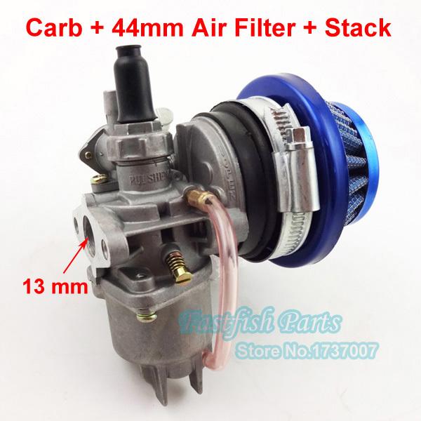 13mm Carburetor Carb Carby + 44mm Air Filter + Stack For Chinese 47cc 49cc Mini ATV Dirt Pocket Bike Go Kart Pit Bikes(China (Mainland))