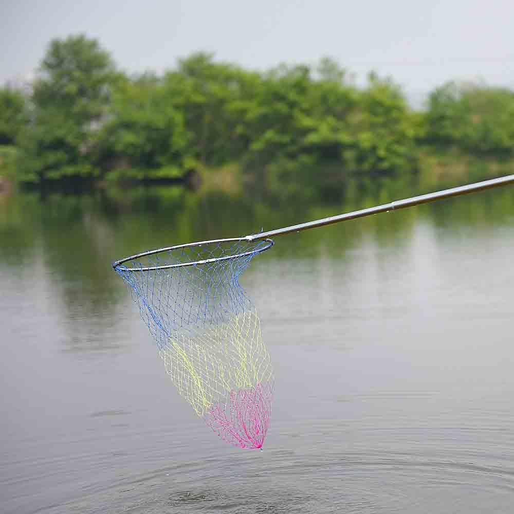 Hot Sale 4 Sections Fishing Net Telescopic Folding Landing Net Stainless Steel Handle Nylon Landing Net(China (Mainland))