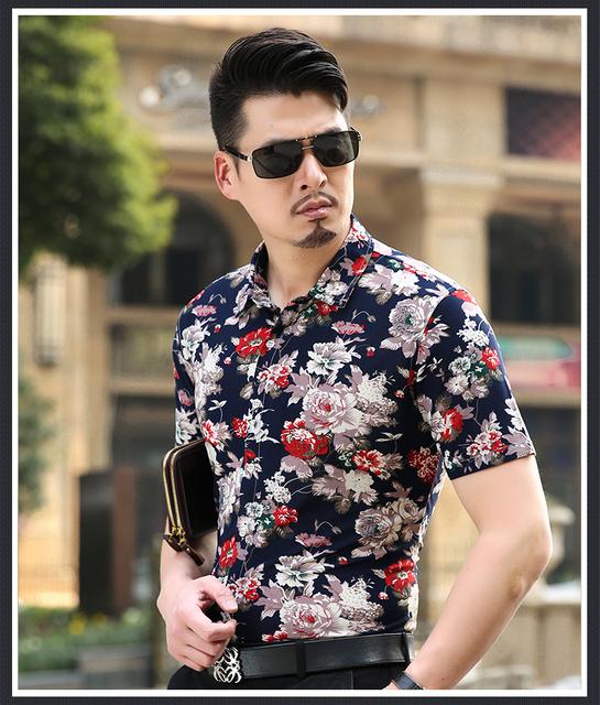 2016 новых прибыть моды мягкий цветочный принт мужчины рубашка с коротким рукавом ...