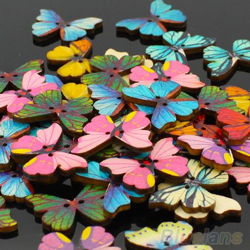 50pcs 2 Holes Mixed Butterfly Wooden Buttons Sewing Scrapbooking DIY 1QSH