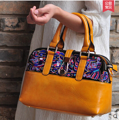 National trend bags handmade embroidered shoulder bag casual canvas female small cross-body bag