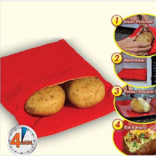 NEW Red Washable Cooker Bag Baked Potato Microwave Cooking Potato Quick Fast (cooks 4 potatoes at once)G030(China (Mainland))