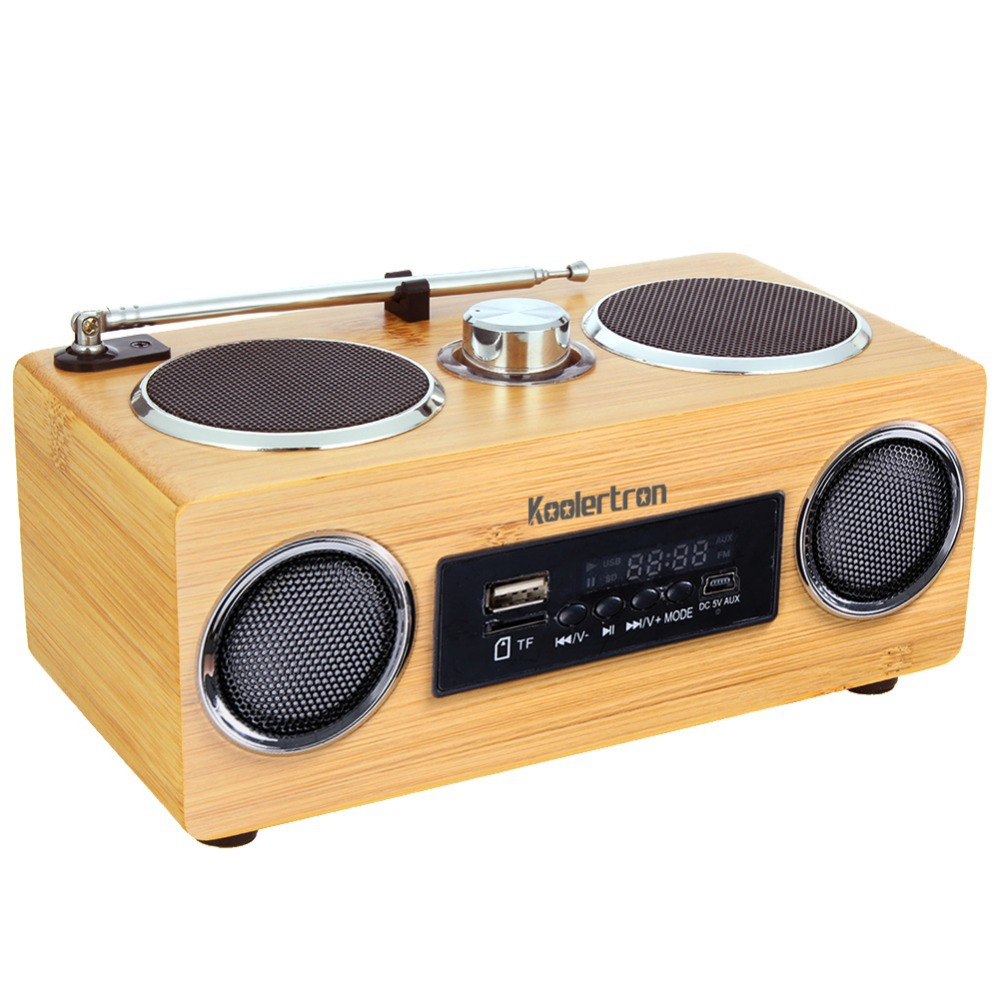 Koolertron Eco-friendly Hand-made Mini Portable Bamboo Wood Boombox Sound Card Speaker Radio Function Made Back Nature