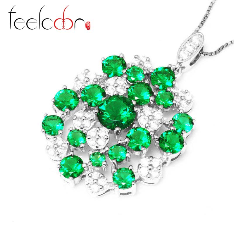 Wholesale 3.3ct Ladies Nano Russian Emerald Pendant Round Pendent 925 Sterling Silver Set 2015 Stylish New Hot Gift<br><br>Aliexpress