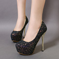 2016 New Sexy High heeled Party Shoes Pumps Women Stiletto Pump Sequin Shiny Night Club Shoes