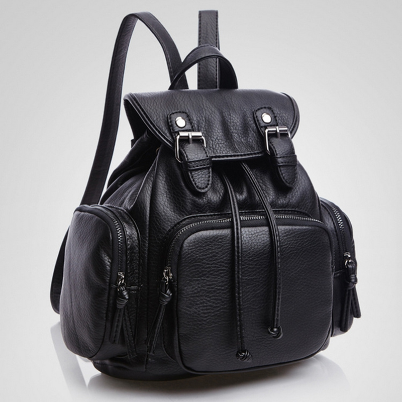 Solid Black Preppy Style School Backpacks New Trendy Simple Day Leather Backpack For Women Casual Pretty Shoulder Bags For Girls<br><br>Aliexpress