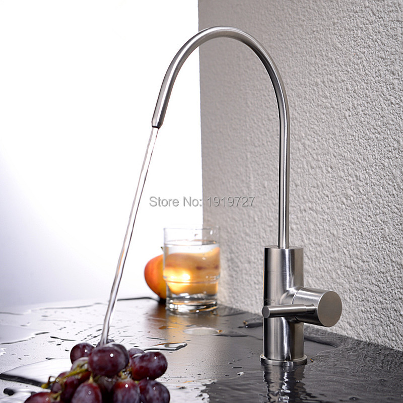 Modern Brushed Nickel Single Handle Kitchen Sink Dispenser Drinking