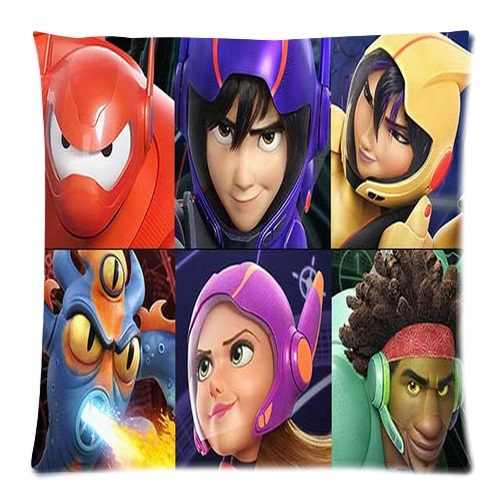 Free Shipping Newest Design Linen Pillow Cover Cartoon Big Hero 6 Decorative Bed Cotton Pillow Case Sofa Square Couch 45x45cm(China (Mainland))