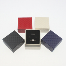 24pcs/lot 5*5*3cm jewelry earring ring gift Grid lines Imitation leather boxes 4 different color quare carton with Sponge(China (Mainland))