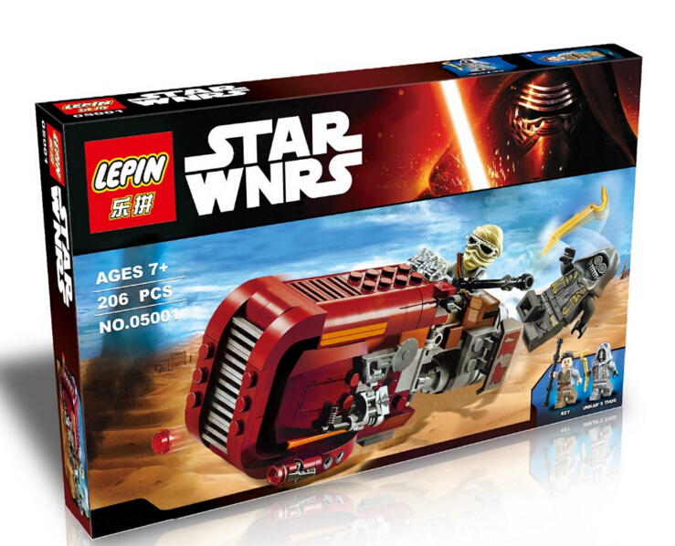 LEPIN 206Pcs Star Wars The Force Awakens Rey s Speeder Building Blocks Toy Set Rey Unkar