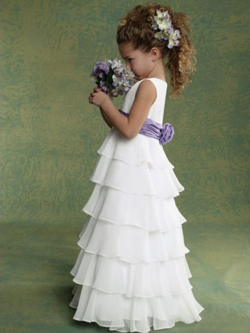 Simple White Cute Flower Girl Dresses Weddings Party First Communion Dress Sash little Pageant Gown Tank - & Events Collection store