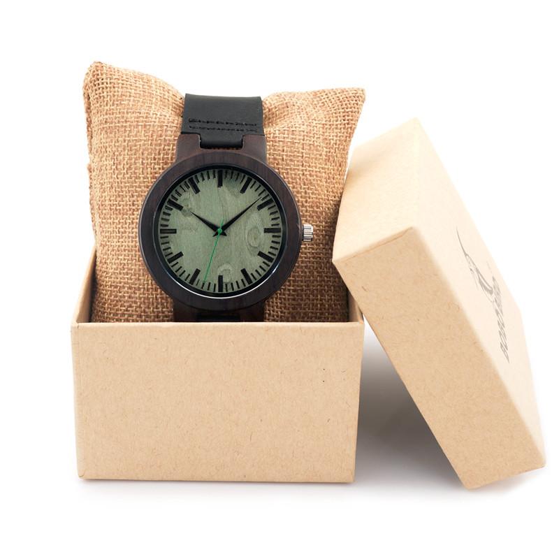 BOBO BIRD Brand Men's Wooden Wristwatches Black Genuine Leather Strap Wood Watch - Japanese Movement Qurtz C25 BOBOBIRD Store store