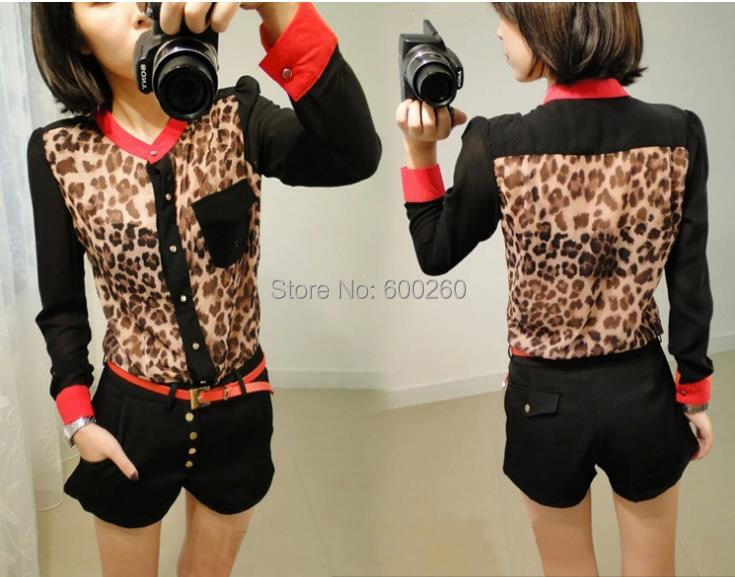 women clothing Fashion women blouse Chiffon Blouse Long Sleeve pocket Leopard patchwork shirt