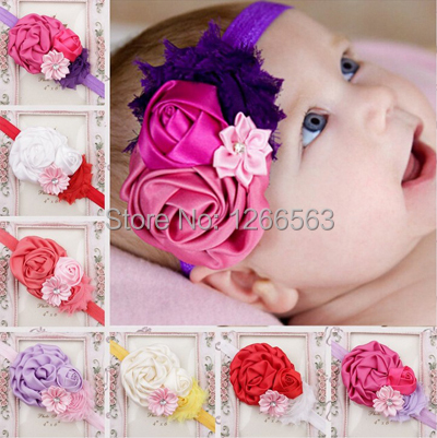 Baby Headbands High quality Rose Flower Headband Hair Band For Baby Girl Hair Accessories Girls Headwear Photo Prop(China (Mainland))