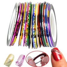 30Pcs Color Rolls Striping Tape Metallic Yarn Line Nail Art Decoration Sticker Free Shipping 36(China (Mainland))