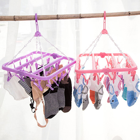 Foldable Plastic 24 Lined Clothes Rack Multifunctional Windproof Airer Underwear Socks Drying Rack Clothes Hanger(China (Mainland))
