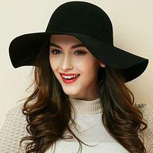( 13 цветов ) 2015 мода новый урожай женщины солнце пляж шляпа 100% шерсть дамы флоппи-бей широкими полями шерстяной войлок Cap фетровую колокол шляпа шапка