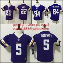 100% stitched baby Minnesota /s toddler 5 Teddy Bridgewater 22 Harrison Smith 84 Cordarrelle Patterson Embroidery Logos(China (Mainland))