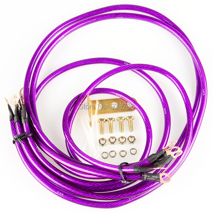 Free Shipping Universal 5 Points Earth System Grounding Ground Wire Cable Kit Auto High Performance Purple(China (Mainland))