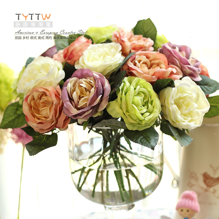 Round rose artificial flower silk flower artificial flower home decoration the bride accessories dining table hot-selling(China (Mainland))