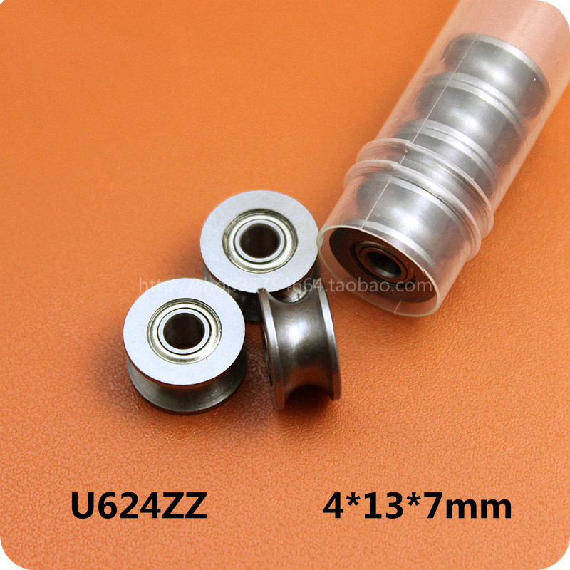 10pc 624UU U Groove HCS Guide Pulley Rail Ball Bearings Wheel Roll 4MM*13MM*7MM(China (Mainland))