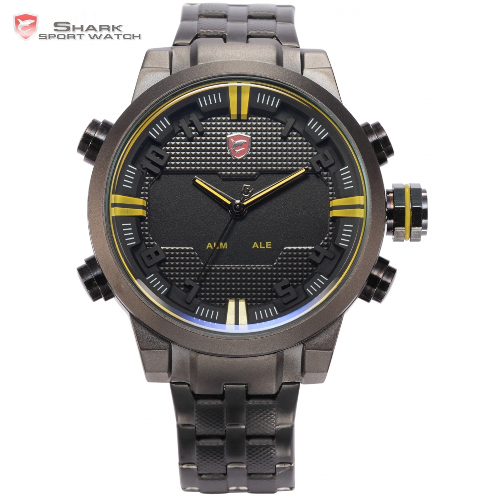 SHARK Sport Watch Brand Relogio Masculino LED Dual Time Stainless Steel Strap Alarm Men Tag Quartz-watch Digital Clock / SH198