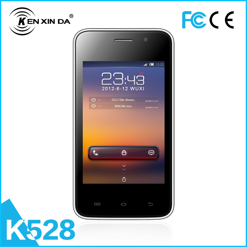 Free shipping on line lowest price Android Mobile Phone k528 512MB+256MB 0.3+2.0MP low-end 3.5inch smart phone(China (Mainland))