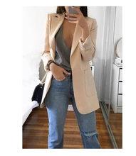 Для женщин деловой костюм для стройных куртка из однотонного черного цвета хаки цвет розовый, серый, синий Для женщин с длинным рукавом Повс...(China)