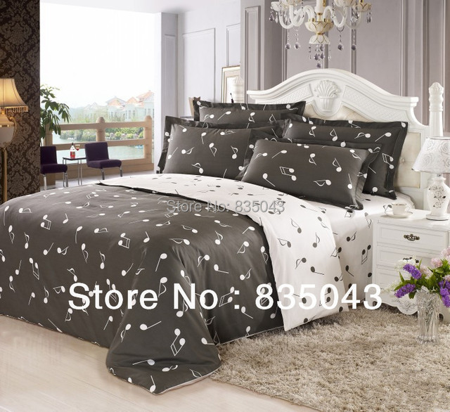 100 cotton musical notes comforters duvet cover bedding four set retro bed linen music notes - Music notes comforter ...