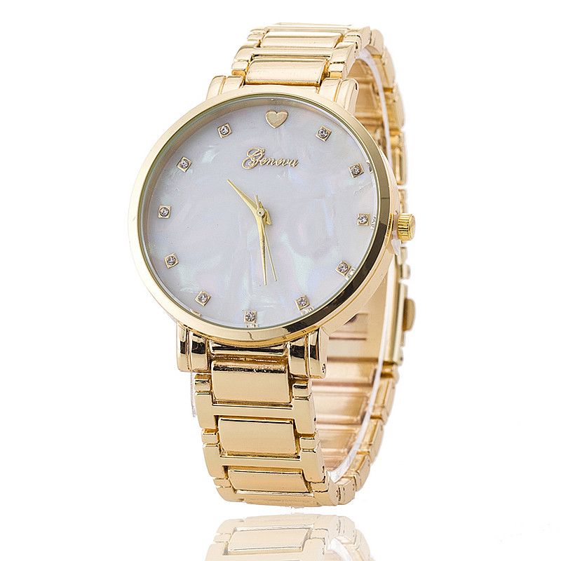 Гаджет  3 Colors New Arrival Mother of Pearl Dial Watch Geneva Watch Stainless Steel Wristwatch Fashion Watches Quarzt Watch Relojes None Часы