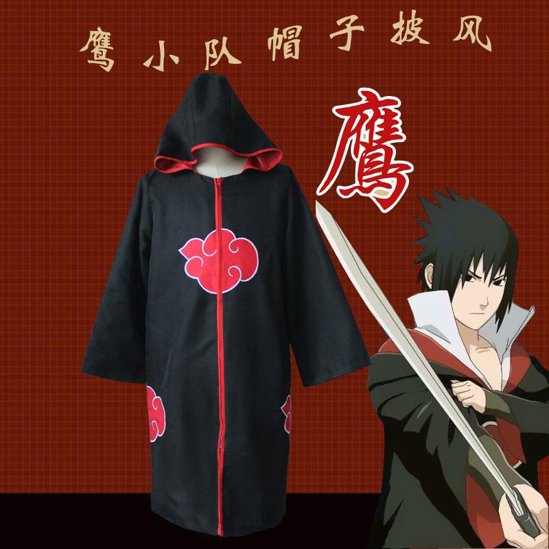 Naruto Cosplay Costumes Akatsuki Cloaks Costumes with Hat Hawk Team Sasuke Uchiha Robe Halloween Party Clothes(China (Mainland))
