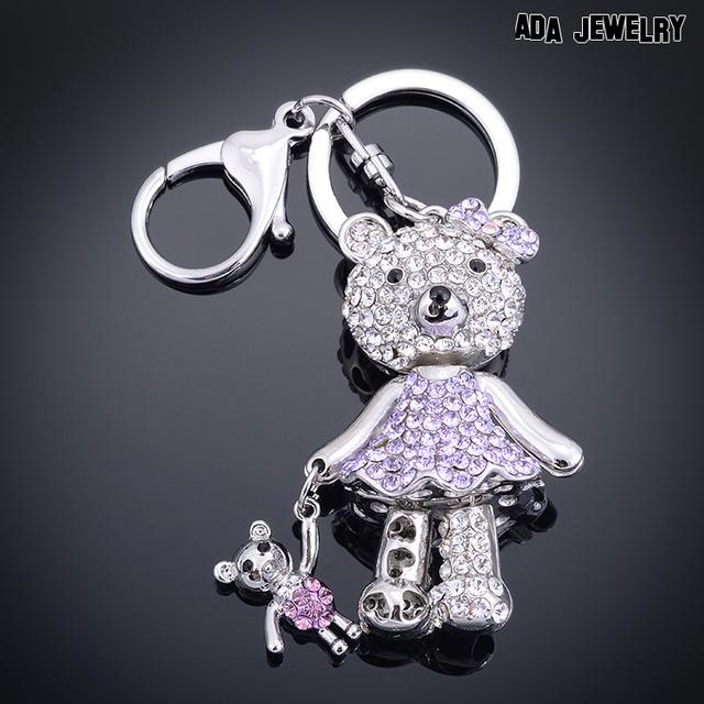 Дизайнерский бренд прекрасный мультфильм брелок симпатичная девушка брелоки для мешок кристалл два медведя подвеска брелок мода ювелирных изделий