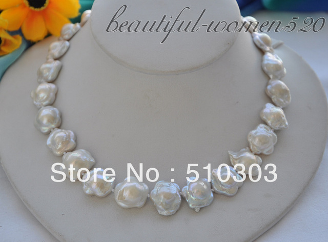 "17"" 18  mm flower white keshi reborn freshwater pearl necklace"