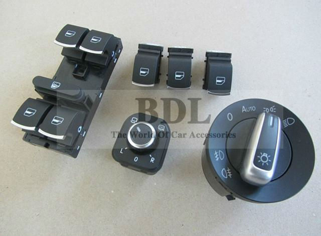 original OEM Chrome Auto Headlight Switch+Rearview Mirror Switch+Window Swtich VW CC TIGUAN GOLF JETTA MK5 MK6 Passat B6 B7  -  SHENZHEN MAUTOC CO.,LTD store