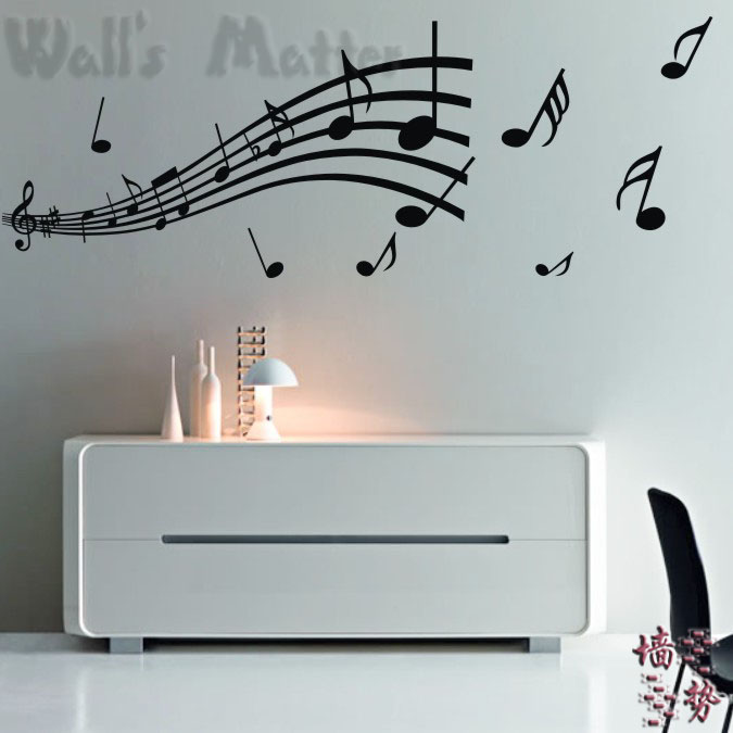 free shipping Staff notes for piano music room bedroom children's room nursery wall stickers(China (Mainland))