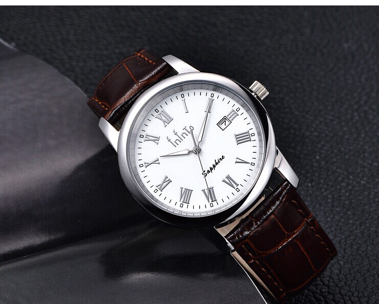 Brand Elegant Men Saphir Business Watches Imported Quartz Real Leather Analog Clock Roman Scale Dress Relojes Waterproof NW3684(China (Mainland))