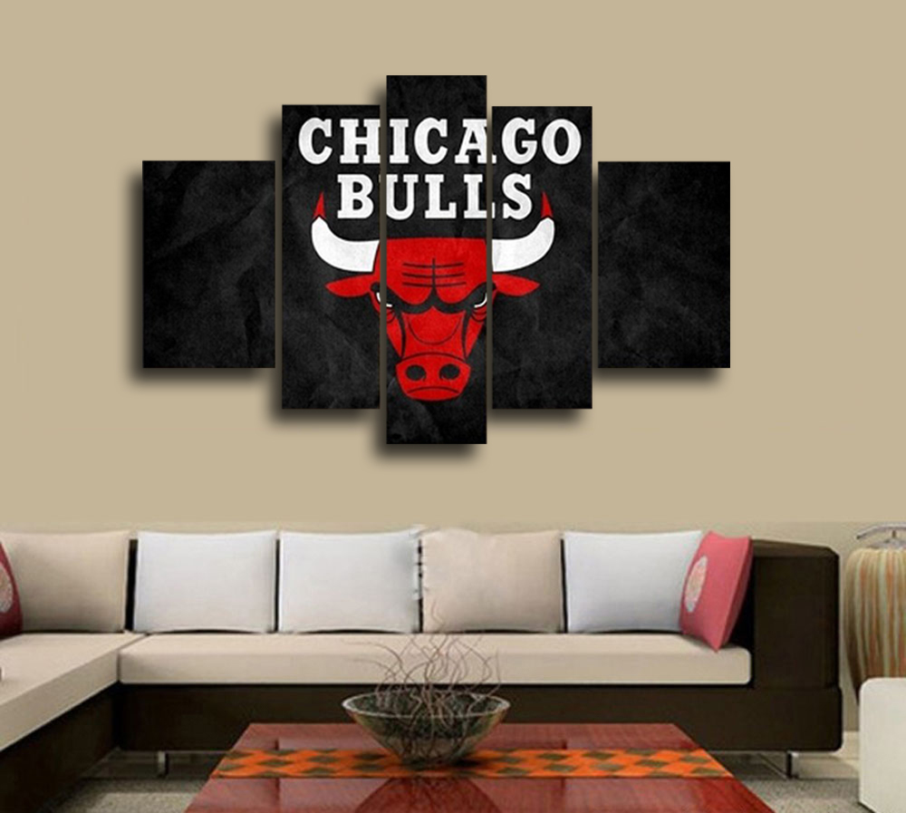 Oil Painting For Living Room Aliexpresscom Buy Nba Chicago Bulls Wall Decoration Abstract