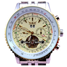 Luxury 6 hands wroking business date version self-wind mechanical movement full steel jaragar automatic watches men(China (Mainland))