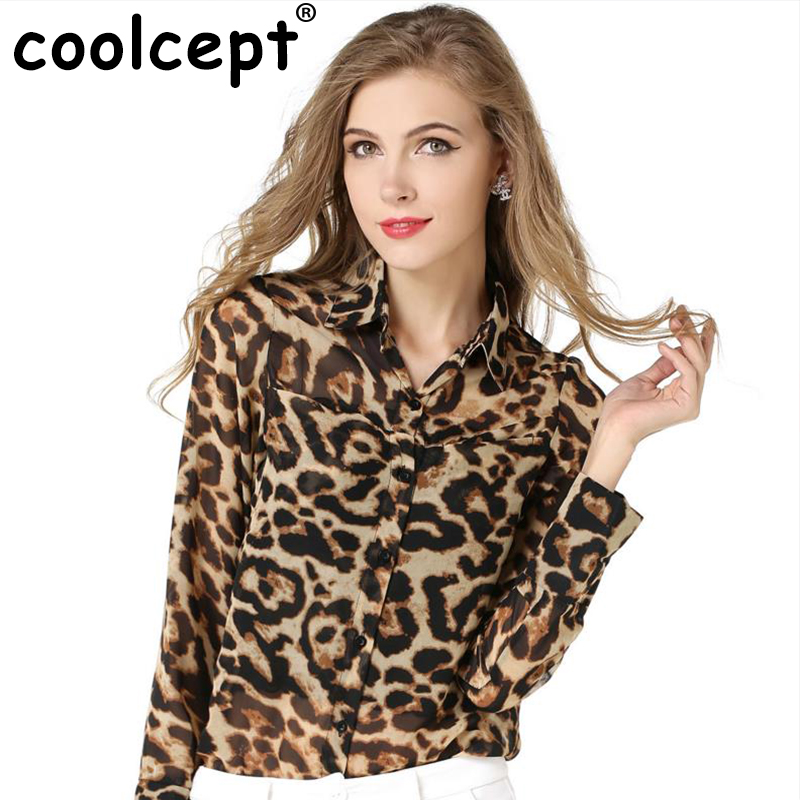 New Women Long Sleeve Shirts Sexy Chiffon Tops Turn Down Collar Leopard Print Perspective Single Breasted Loose Spring Blouses(China (Mainland))