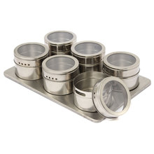 6pcs/Set Magnetic Spice Jar Seasonings Containers Flavor Condiments Storage Box With Holder Rack Kitchen Accessories(China (Mainland))