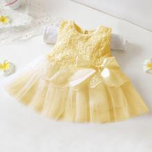 Fashion Sleeveless Pure Color Children Girls Pleated Dress Mesh Sweet Style Bow Knot Decoration One-Piece Dress(China (Mainland))