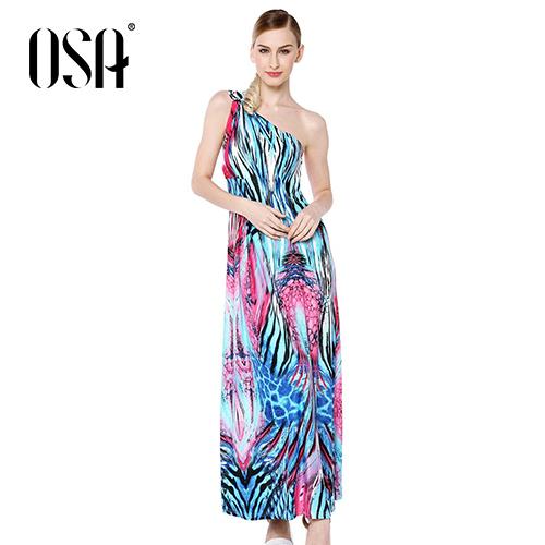 OSA 2015 New Arrivals Women Print One Shoulder Dress Empire Slim Casual Vestidos Female High Quality SL431145(China (Mainland))