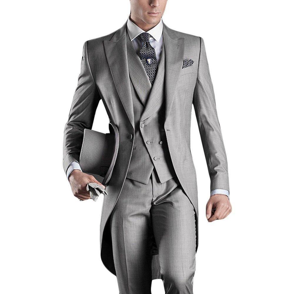 HTB1vkjLKXXXXXcuXpXXq6xXFXXXE - Hot Sale Grey Italian Mens Tailcoat Wedding Suits for Men Groomsmen Suits 3 pieces Groom Wedding Suits Peaked Lapel Men Suits