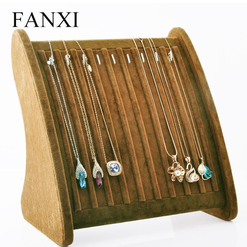 Oirlv Free Shipping Necklace Pendant Exhibitor Stand Coffee Ice Velvet Jewelry Display 10 Hooks Shelf Board Shop Organizer(China (Mainland))