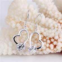 Free Shipping 925 Sterling Silver Earrings,Crooked heart earrings,925 Sterling Silver Earrings wholesale jewelry E102(China (Mainland))