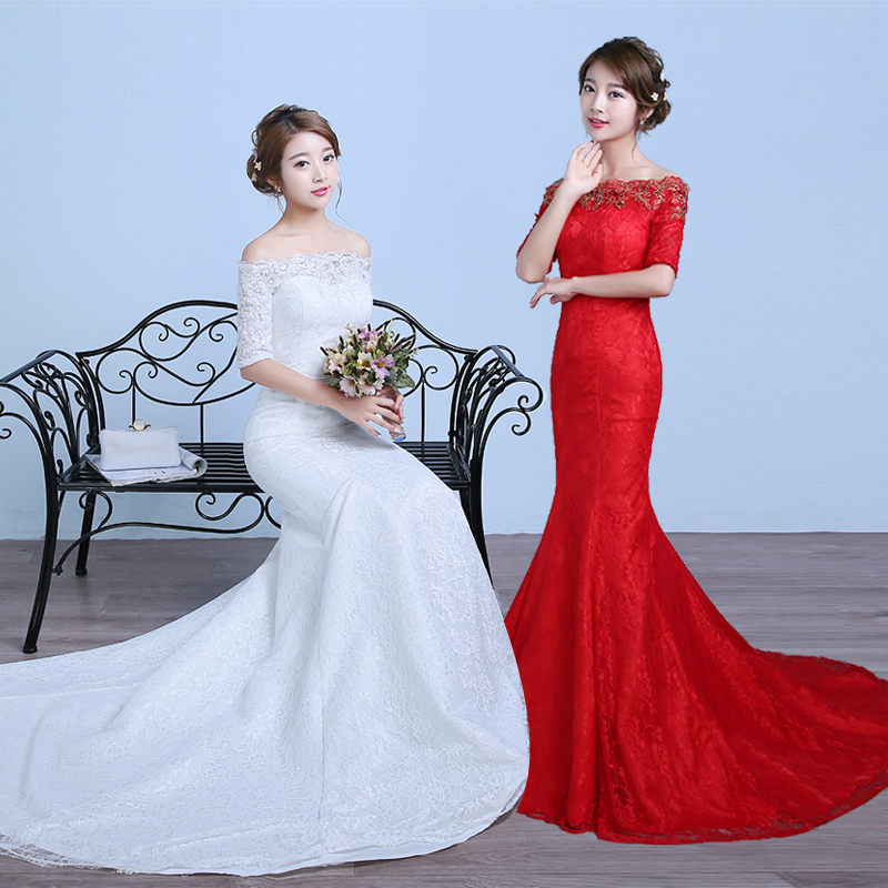 Lace Wedding Dress Red : Aliexpress buy free shipping lace mermaid wedding dress red